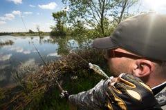 Человек рыбной ловли стоковое фото rf