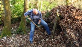 Человек сгребая листья стоковые изображения