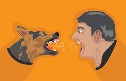 Человек сердитой собаки сердитый иллюстрация вектора