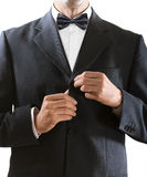 Человек сжимает кнопку куртки Стоковая Фотография