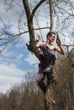 Человек сидит на дереве и пилить ветвь Стоковые Изображения RF