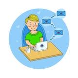 Человек сидит с компьтер-книжкой на таблице и получает любовные письма Vecto иллюстрация штока