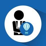 Человек силуэта с болтовней пузыря воздушного шара электронной почты Стоковые Фотографии RF