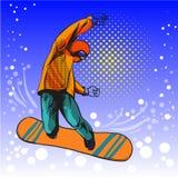 Человек скача на сноуборд иллюстрация штока