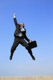 человек скачки дела счастливый Стоковая Фотография RF
