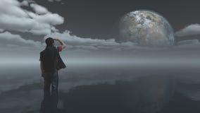 Человек смотрит мир Стоковая Фотография RF