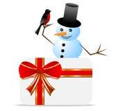 Человек снега с bullfinch и приветстви-карточкой птицы иллюстрация вектора