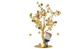 Человек собирает золотые монетки под золотым деревом иллюстрация 3d Стоковое фото RF