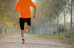 Человек спорта при сильная мышца икр бежать outdoors в с следе дороги смолол с деревьями под красивым солнечным светом осени Стоковое Изображение