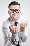 Человек странного nery jinxy готовый для боя стоковое фото rf