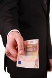 Человек с банкнотами евро Стоковые Изображения RF