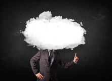 человек с белым облаком на его головной концепции на grungy предпосылке Стоковое Изображение RF