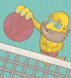 Человек с бородой и стеклами играет волейбол пляжа иллюстрация штока