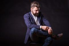 Человек с бородой, портретом цвета Стоковые Фото