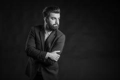 Человек с бородой, черно-белой Стоковые Фото