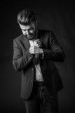 Человек с бородой, черно-белой Стоковое Изображение