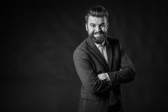 Человек с бородой, черно-белой Стоковое Фото