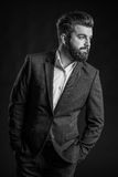 Человек с бородой, черно-белой Стоковые Фотографии RF