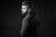 Человек с бородой, черно-белой Стоковая Фотография