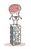 Человек с большим мозгом на стоге книг Стоковая Фотография RF