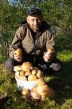 Человек с ведерком осины величает в лесе Стоковое Изображение