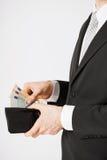 Человек с деньгами наличных денег евро Стоковая Фотография
