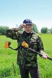 Человек с детектором металла Стоковое Фото