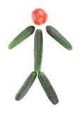 Человек сделанный из огурца и томата Стоковые Изображения RF