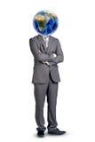 Человек с землей вместо возглавляет и пересек оружия Стоковые Изображения RF