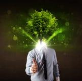 Человек с зеленой концепцией головы дерева Стоковые Фотографии RF