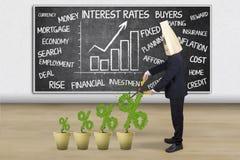 Человек с знаком процента процентных ставок Стоковая Фотография RF