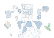 Человек с компьтер-книжкой дома, сидящ на поле Вручите вычерченную иллюстрацию контура, взгляд сверху молодого человека на белой  Стоковые Изображения