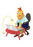 Человек с компьтер-книжкой Стоковые Фотографии RF