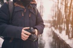 Человек с концом камеры вверх Стоковое фото RF