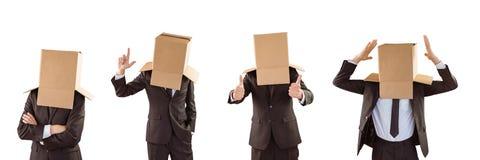 Человек с коробкой в головном коллаже стоковая фотография rf