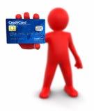 Человек с кредитной карточкой (включенный путь клиппирования) Иллюстрация вектора
