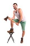 Человек с осью Стоковая Фотография RF