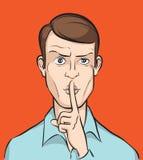 Человек с пальцем на губах бесплатная иллюстрация