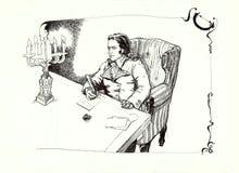 Человек с пером в историческом чертеже одежды Стоковые Изображения