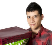 Человек с подарками стоковые изображения rf