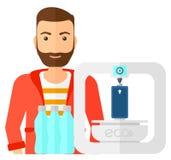Человек с принтером 3 d иллюстрация вектора