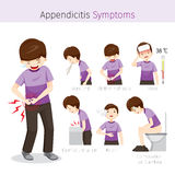 Человек с симптомами аппендицита Стоковое фото RF