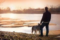 Человек с собакой на банке реки стоковые фотографии rf