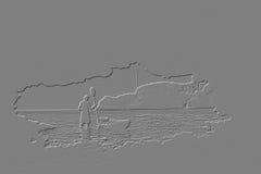 Человек с сплавляться перед пещерой Стоковые Фотографии RF