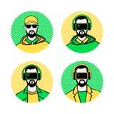 Человек с стеклами виртуальной реальности Стилизованное peop характера Стоковые Фотографии RF