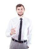 Человек с стеклом стоковое фото