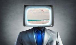 Человек с ТВ вместо головы Мультимедиа Стоковая Фотография RF