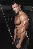 Человек с тренировкой веса в спортивном клубе оборудования спортзала Стоковое Изображение
