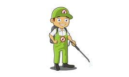 Человек службы борьбы с грызунами и паразитами иллюстрация штока