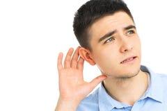 Человек слушая Стоковые Фотографии RF